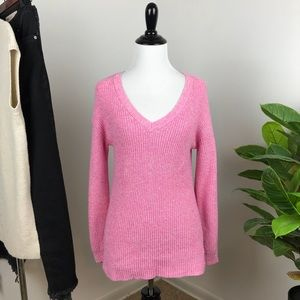American Eagle pink rubbed lace up sleeve sweater
